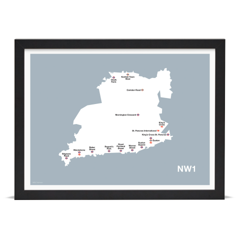 Place in Print MDL Thomson NW1 Postcode Map Grey Art Print Black Frame