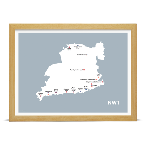 Place in Print MDL Thomson NW1 Postcode Map Grey Art Print Wood Frame