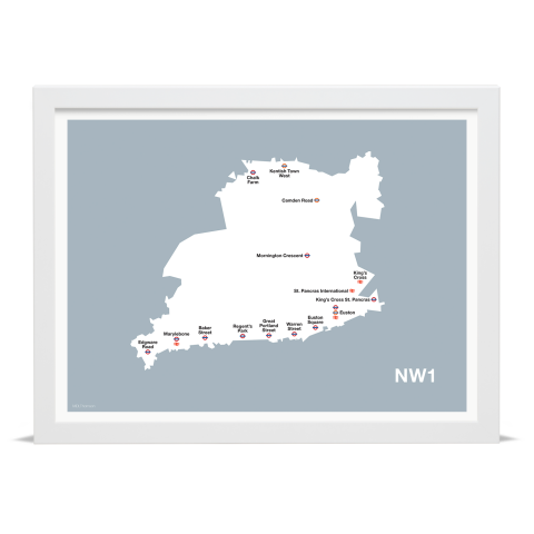 Place in Print MDL Thomson NW1 Postcode Map Grey Art Print White Frame