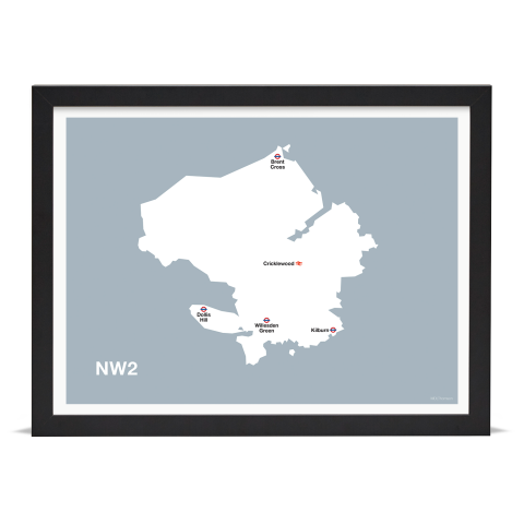Place in Print MDL Thomson NW2 Postcode Map Grey Art Print Black Frame