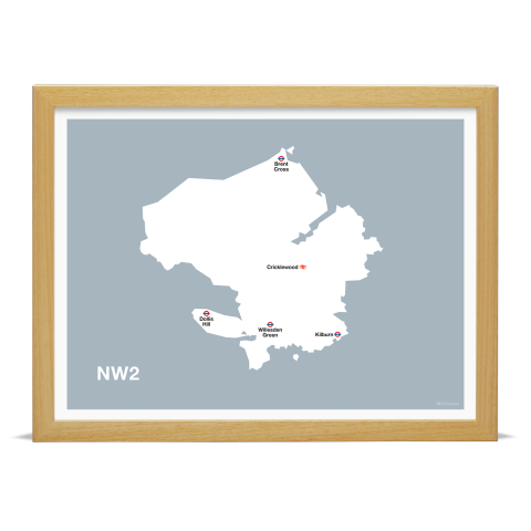 Place in Print MDL Thomson NW2 Postcode Map Grey Art Print Wood Frame