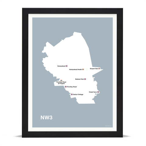Place in Print MDL Thomson NW3 Postcode Map Grey Art Print Black Frame