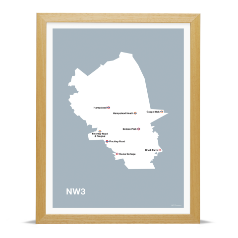 Place in Print MDL Thomson NW3 Postcode Map Grey Art Print Wood Frame