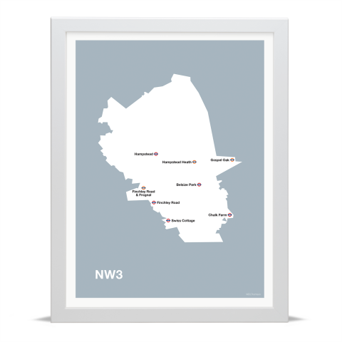 Place in Print MDL Thomson NW3 Postcode Map Grey Art Print White Frame