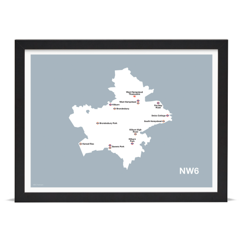 Place in Print MDL Thomson NW6 Postcode Map Grey Art Print Black Frame