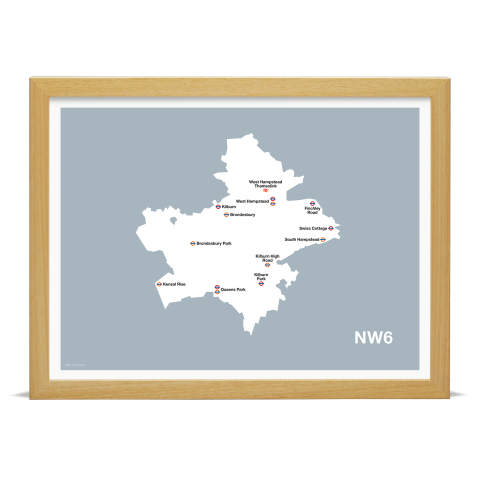 Place in Print MDL Thomson NW6 Postcode Map Grey Art Print Wood Frame
