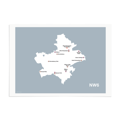 Place in Print MDL Thomson NW6 Postcode Map Grey Art Print Unframed