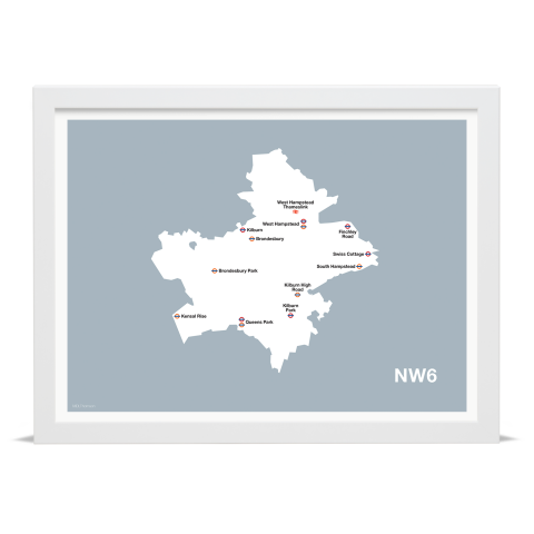 Place in Print MDL Thomson NW6 Postcode Map Grey Art Print White Frame