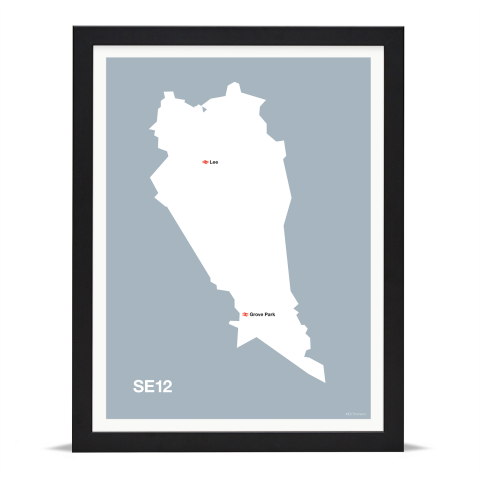 Place in Print MDL Thomson SE12 Postcode Map Grey Art Print Black Frame