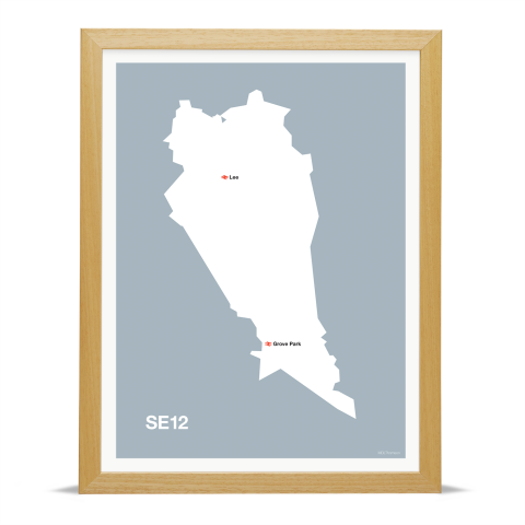 Place in Print MDL Thomson SE12 Postcode Map Grey Art Print Wood Frame