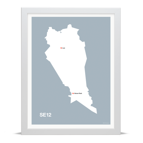 Place in Print MDL Thomson SE12 Postcode Map Grey Art Print White Frame