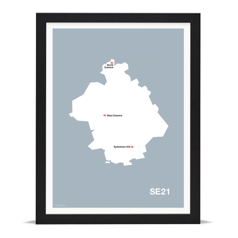 Place in Print MDL Thomson SE21 Postcode Map Grey Art Print Black Frame
