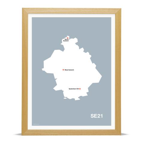 Place in Print MDL Thomson SE21 Postcode Map Grey Art Print Wood Frame