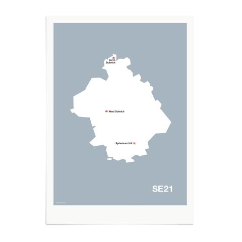 Place in Print MDL Thomson SE21 Postcode Map Grey Art Print Unframed