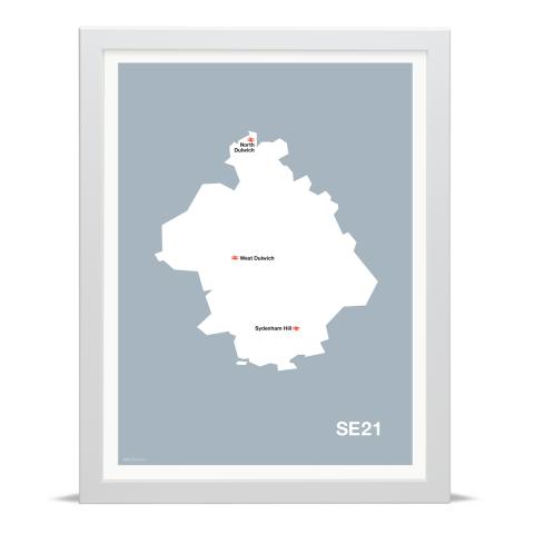 Place in Print MDL Thomson SE21 Postcode Map Grey Art Print White Frame