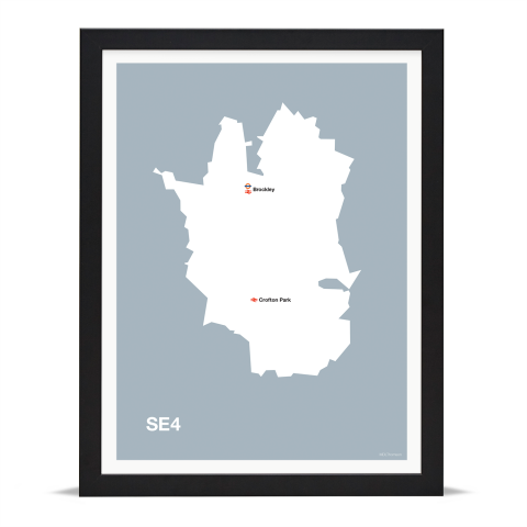 Place in Print MDL Thomson SE4 Postcode Map Grey Art Print Black Frame