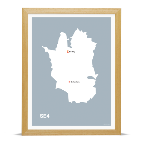 Place in Print MDL Thomson SE4 Postcode Map Grey Art Print Wood Frame