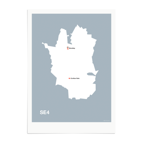 Place in Print MDL Thomson SE4 Postcode Map Grey Art Print Unframed