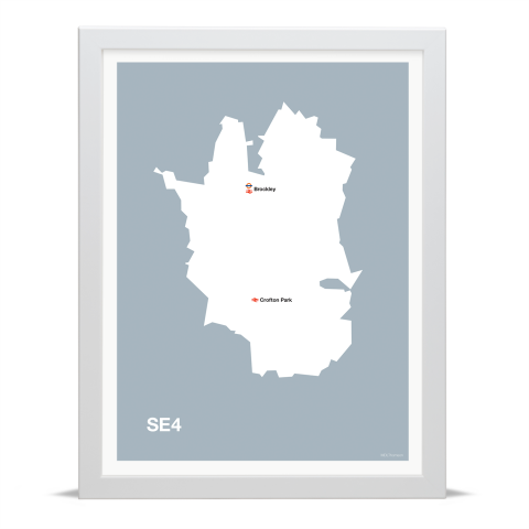 Place in Print MDL Thomson SE4 Postcode Map Grey Art Print White Frame