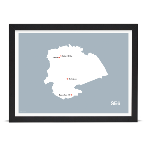 Place in Print MDL Thomson SE6 Postcode Map Grey Art Print Black Frame