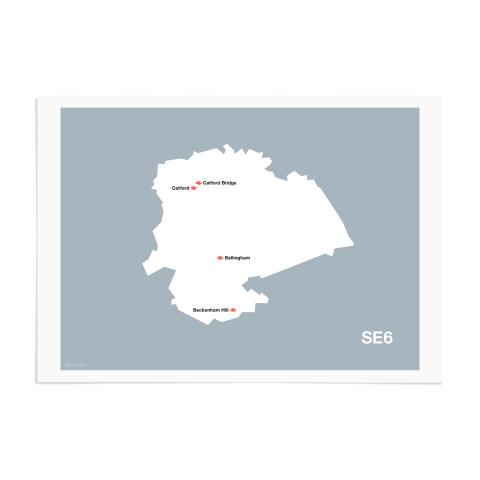 Place in Print MDL Thomson SE6 Postcode Map Grey Art Print Unframed