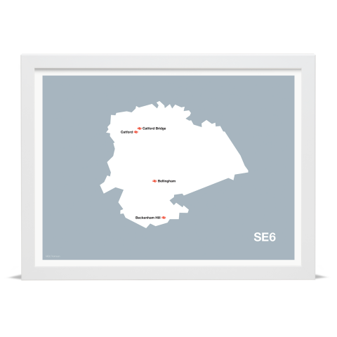 Place in Print MDL Thomson SE6 Postcode Map Grey Art Print White Frame