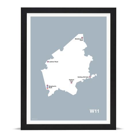 Place in Print MDL Thomson W11 Postcode Map Grey Art Print Black Frame