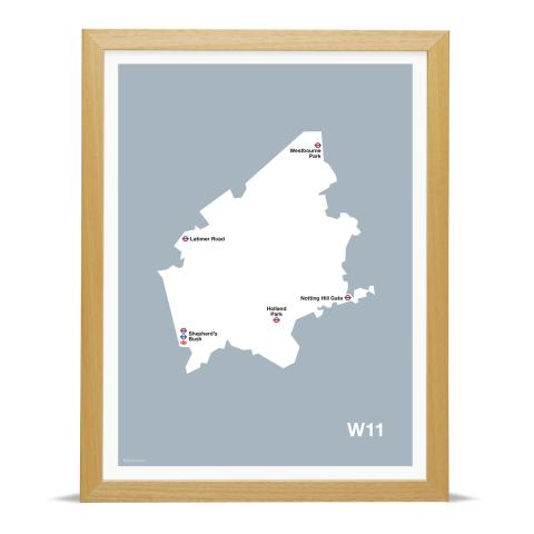 Place in Print MDL Thomson W11 Postcode Map Grey Art Print Wood Frame