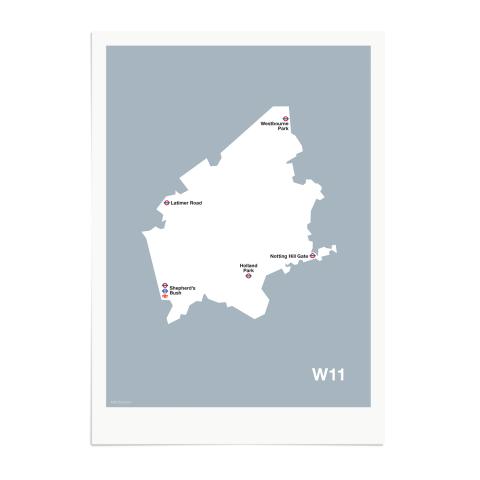 Place in Print MDL Thomson W11 Postcode Map Grey Art Print Unframed
