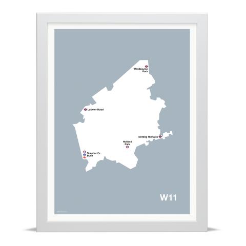 Place in Print MDL Thomson W11 Postcode Map Grey Art Print White Frame