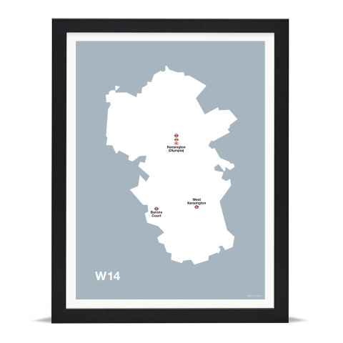 Place in Print MDL Thomson W14 Postcode Map Grey Art Print Black Frame