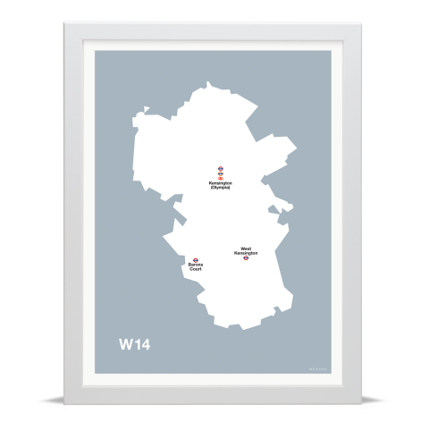 Place in Print MDL Thomson W14 Postcode Map Grey Art Print White Frame