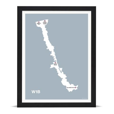Place in Print MDL Thomson W1B Postcode Map Grey Art Print Black Frame