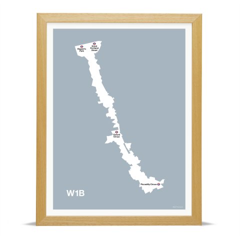 Place in Print MDL Thomson W1B Postcode Map Grey Art Print Wood Frame