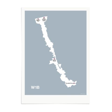 Place in Print MDL Thomson W1B Postcode Map Grey Art Print Unframed