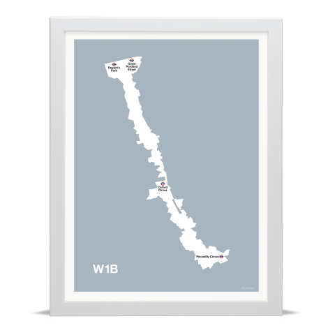 Place in Print MDL Thomson W1B Postcode Map Grey Art Print White Frame
