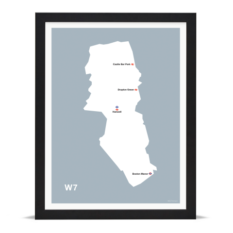 Place in Print MDL Thomson W7 Postcode Map Grey Art Print Black Frame
