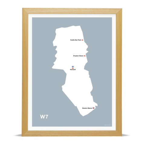 Place in Print MDL Thomson W7 Postcode Map Grey Art Print Wood Frame