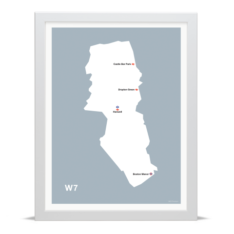 Place in Print MDL Thomson W7 Postcode Map Grey Art Print White Frame