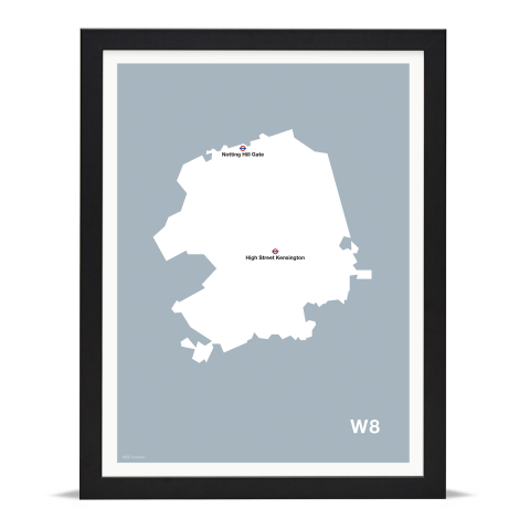 Place in Print MDL Thomson W8 Postcode Map Grey Art Print Black Frame