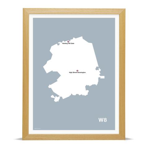 Place in Print MDL Thomson W8 Postcode Map Grey Art Print Wood Frame