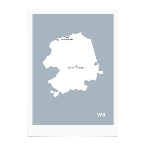 Place in Print MDL Thomson W8 Postcode Map Grey Art Print Unframed