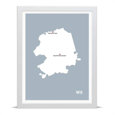 Place in Print MDL Thomson W8 Postcode Map Grey Art Print White Frame