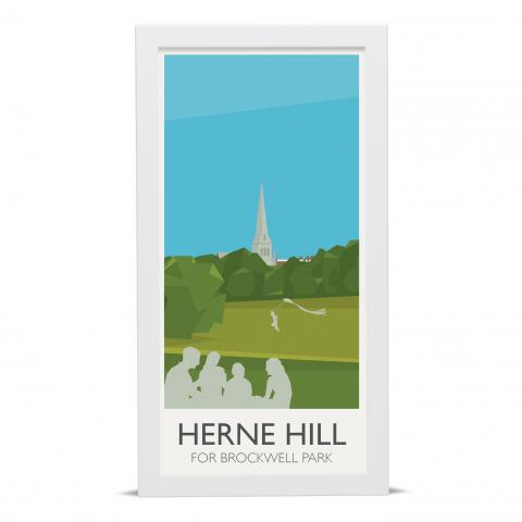 Place in Print Herne Hill Lammppost Banners Brockwell Park Art Poster Print White Frame