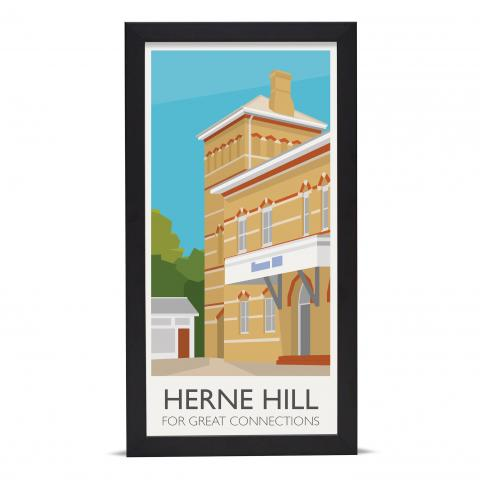Place in Print Herne Hill Lamppost Banners Station Connections Art Poster Print Black Frame