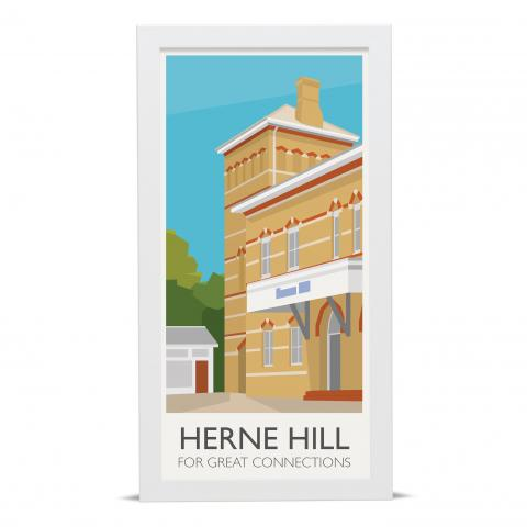 Place in Print Herne Hill Lamppost Banners Station Connections Art Poster Print White Frame