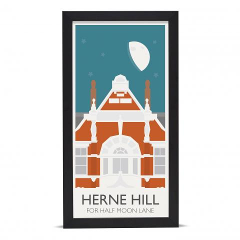 Place in Print Herne Hill Lamppost Banners Half Moon Lane Art Poster Print Black Frame
