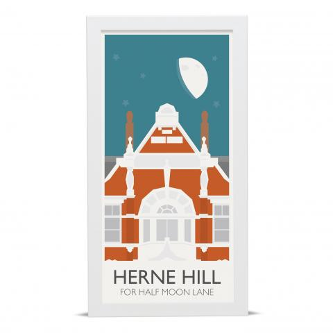 Place in Print Herne Hill Lamppost Banners Half Moon Lane Art Poster Print White Frame
