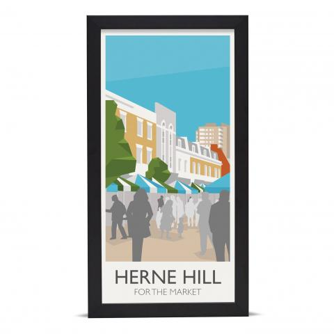 Place in Print Herne Hill for the Market Art Poster Print Black Frame
