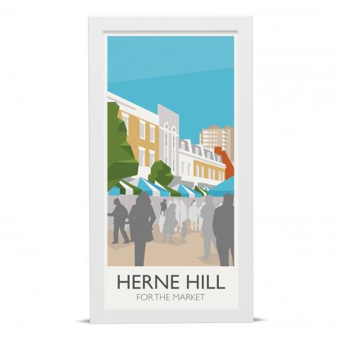 Place in Print Herne Hill for the Market Art Poster Print White Frame